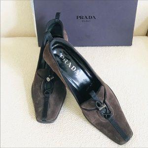 PRADA  brown suede with original box